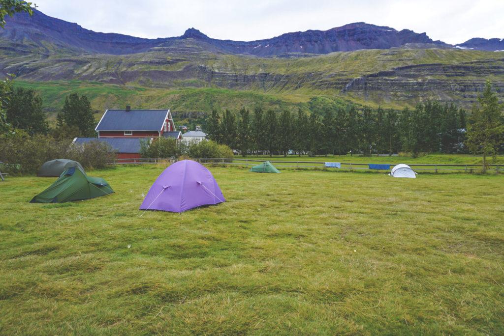 Der Campingplatz in Seydisfjördur Island