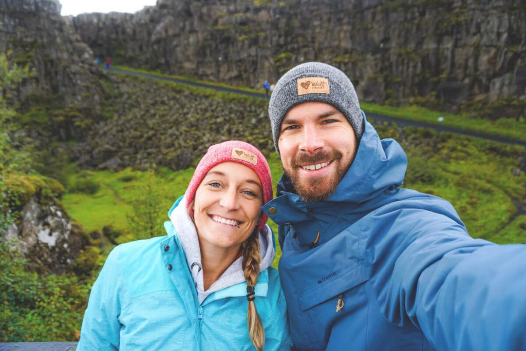 Island Rundreise Selfie Pingvellir Nationalpark Kontinentalplatte