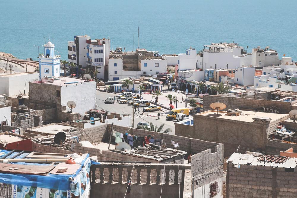 Taghazout-Marokko-Atlantik-Surfen-Stadt-Gassen-Shops-Aussicht-Terrasse