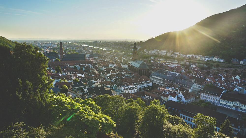 Sonnenuntergang-Schloss-Heidelberg-Aussicht