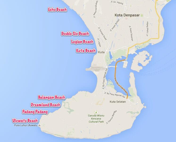 Bali Karte Canggu.Die Schönsten Strände Balis Echo Beach Dreamland Und Co