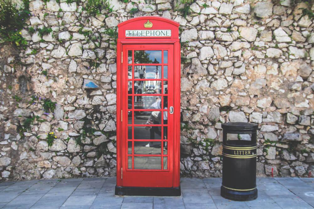 Gibraltar-Telefonzelle-England-Stadt