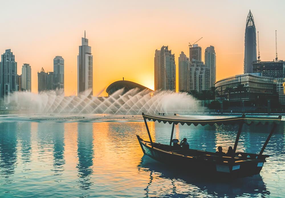 Dubai Sehenswürdigkeiten Bootstour Dubai Fountain