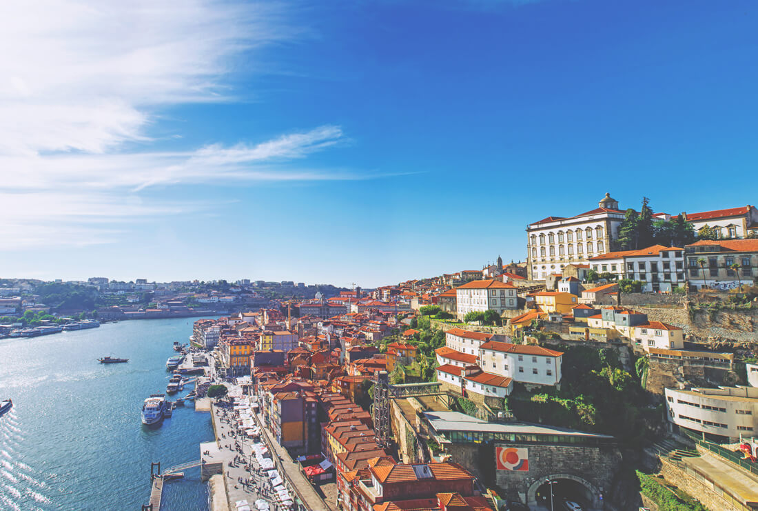 Portugal-Sehenswuerdigkeiten-Porto-Ausblick-Fluss-Altstadt