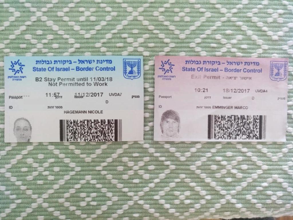 Einreise-Israel-Einreisekarte-Ausreisekarte