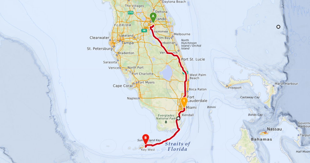 Florida-Rundreise-Route
