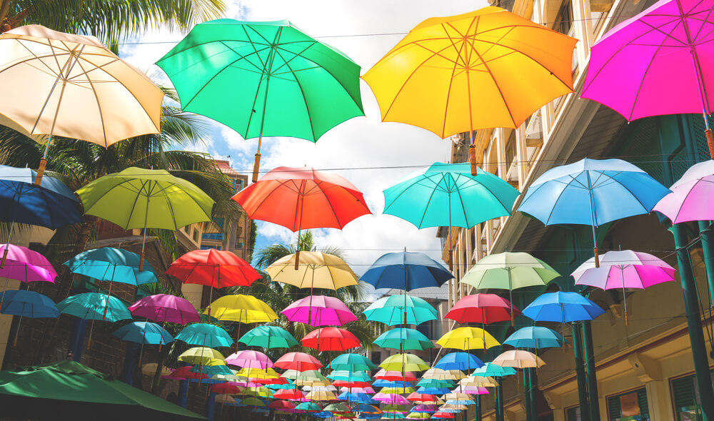 Sehenswürdigkeiten in Port Louis  Umbrella Square Regenschirme