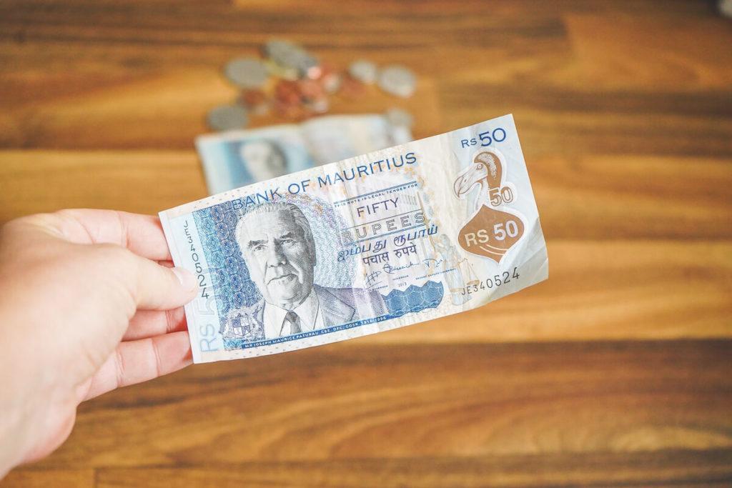Währung Mauritius Geldschein Rupies