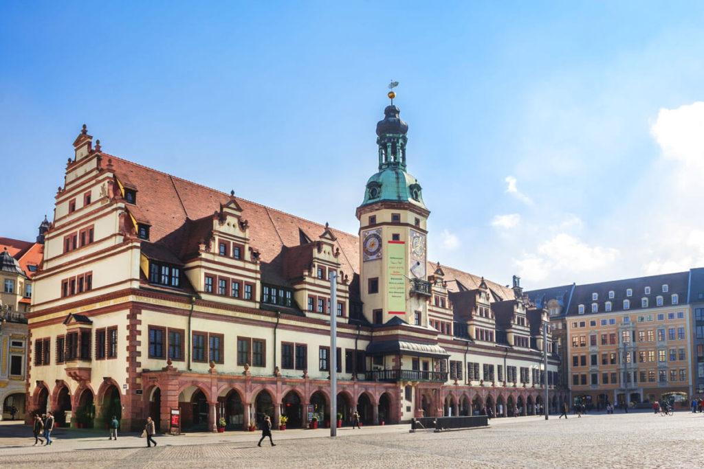 Rathaus und Altstadt in Leipzig