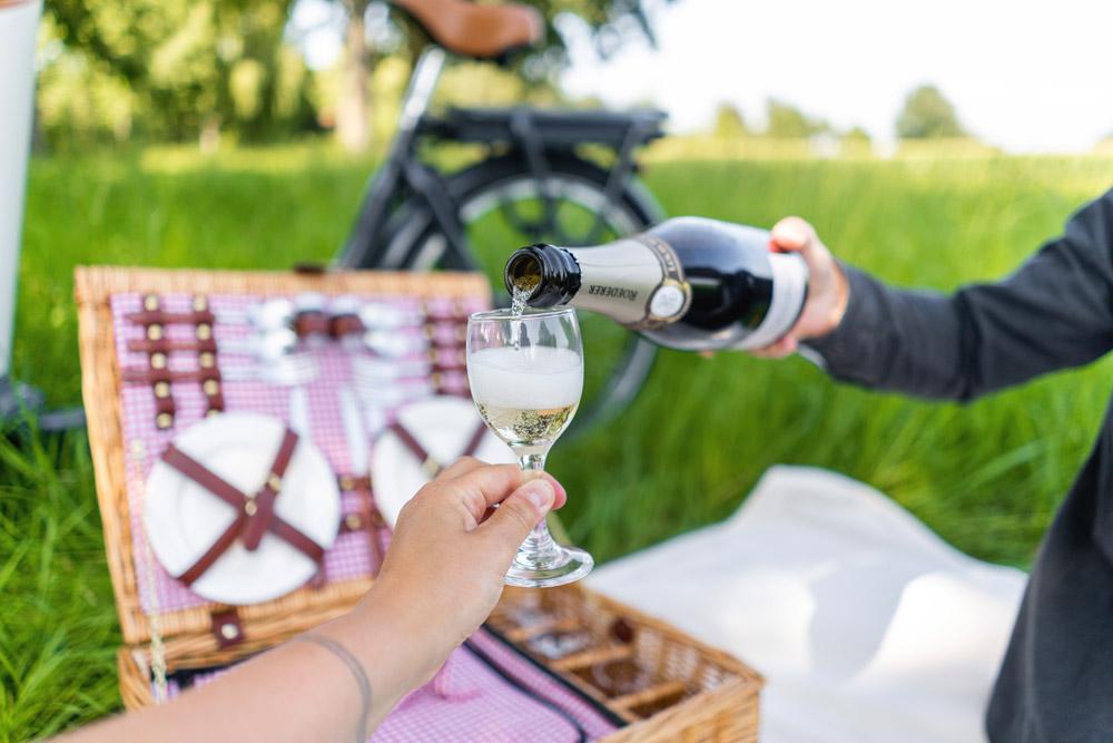 Picknick-Wiese-Champagner